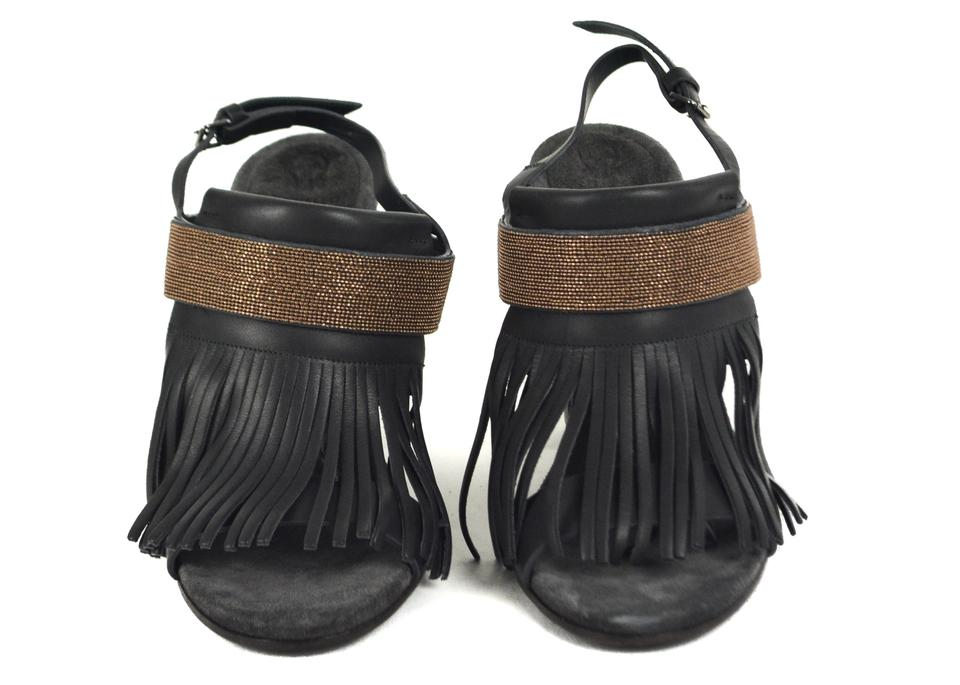 Dark Grey Sandals Brunello Heels Embellished Cucinelli Fringe qvwBFE