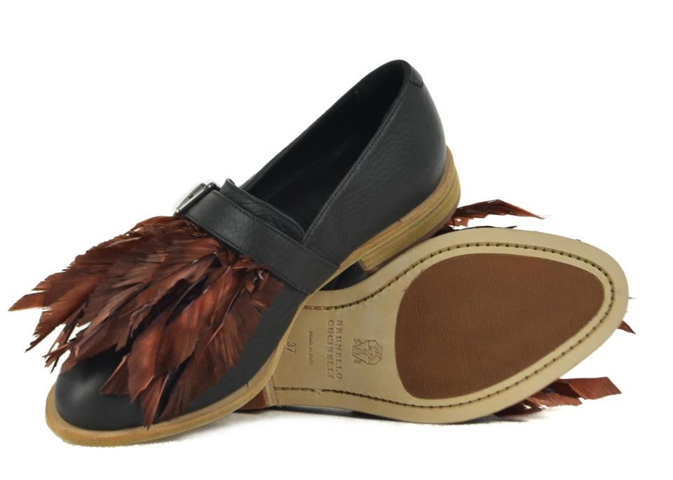Ons Burgundy Brunello Leather Feathers Flats Black Slip Cucinelli with IPZaPn4