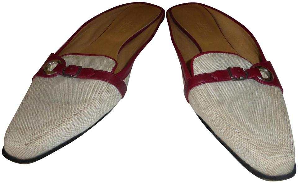 Hermès Tan Canvas & Burgundy Mules/Slides Leather Italy Mules/Slides Burgundy 499cda