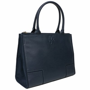Tory Burch Ella Canvas Leather Shoulder Tote in Navy