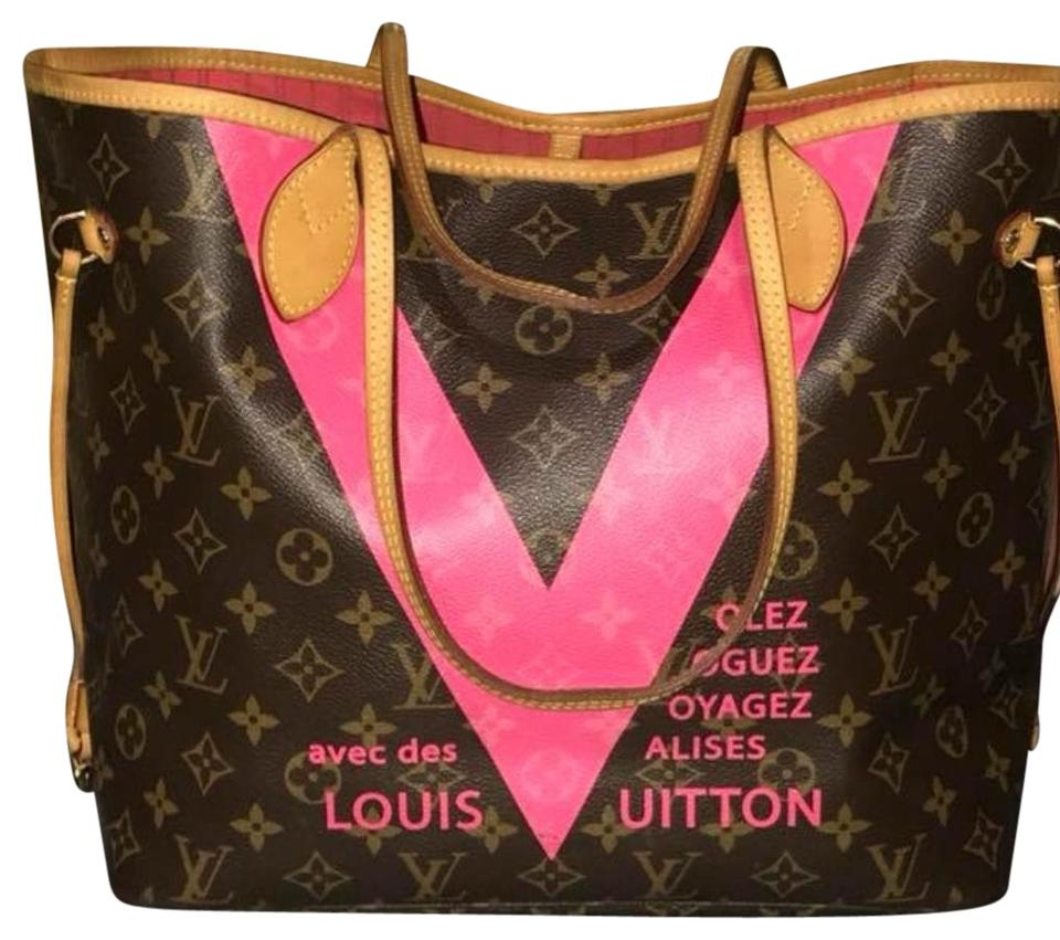55e66e4ea1f7 Louis Vuitton Limited Edition Neverfull Mm Pink V Neverfull Lv Tote in Brown  Monogram Image 0 ...