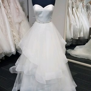 Christina Wu Ivory Satin and Tulle 18056 Traditional Wedding Dress Size 12 (L)