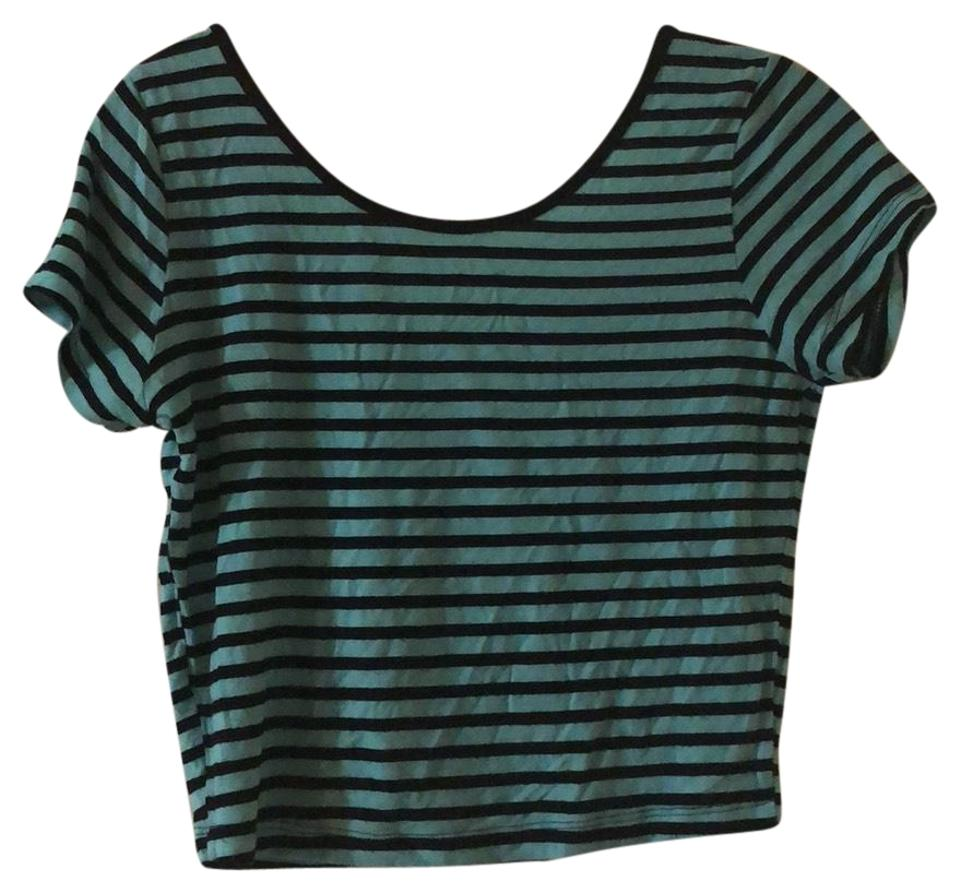89e14387a0 American Dream Mint Green and Black Striped Tee Shirt Size 8 (M ...