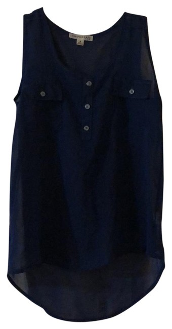 Chocolate Navy Blue Mesh Blouse Size 4 (S) Chocolate Navy Blue Mesh Blouse Size 4 (S) Image 1