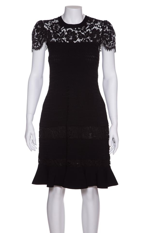 44a4a0b0eb0 Valentino Black Textured Knit Short Cocktail Dress Size 8 (M) - Tradesy