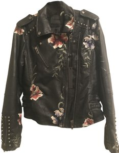 BlankNYC Faux Leather Studded Embroidered Motorcycle Jacket