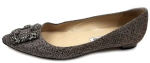 Manolo Blahnik Jewel Embellishment Elegant Satin Padded Insole Made In Italy Pointed Toe Gold and Silver glittered Flats