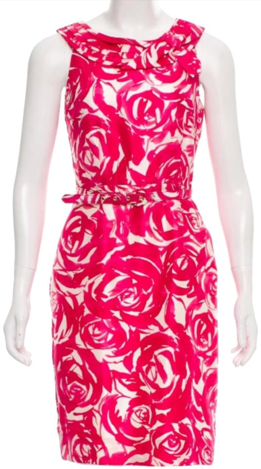 04cf10868409 Kate Spade White Pink Watercolor Roses Short Cocktail Dress Size 00 ...