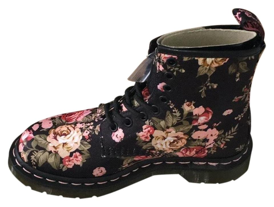Dr. Martens Victorian Black and Pink Women's Victorian Martens Flower Canvas Boots/Booties a8556c