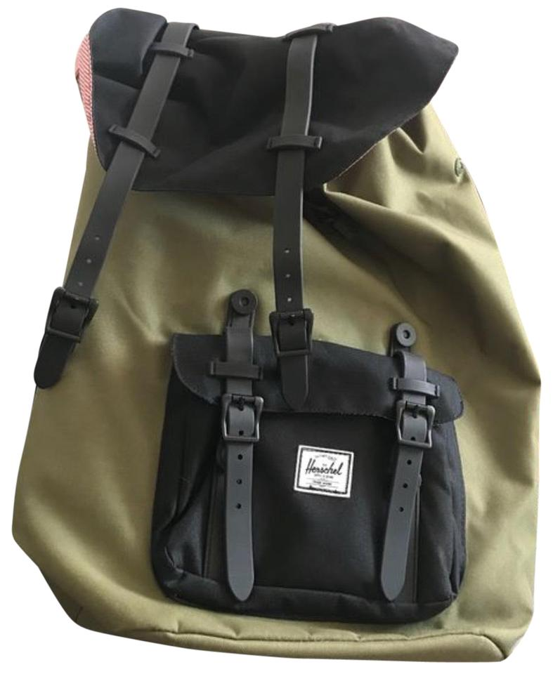 469cc280d76d Herschel Supply Co. Co Army Green Inside Red and White Stripes Canvas  Backpack