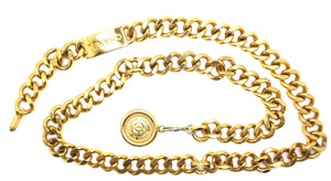 Chanel CC chain medallion charm gold long two way necklace belt