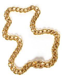 Chanel Chanel Gold & Crystal Chain Link CC Belt