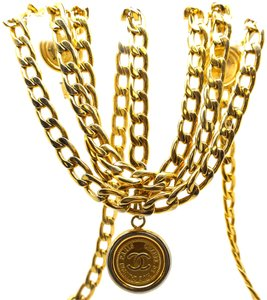 Chanel CC triple chain medallion charm gold long two way necklace belt