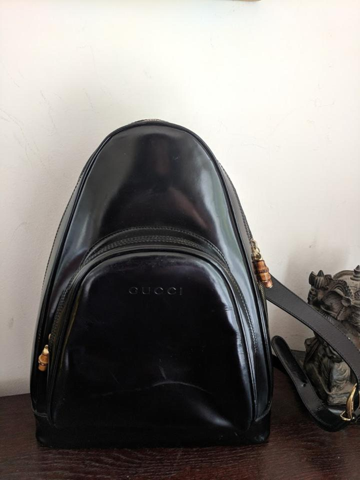 d67f0296b61 Gucci Bamboo Sling Black Patent Leather Backpack - Tradesy