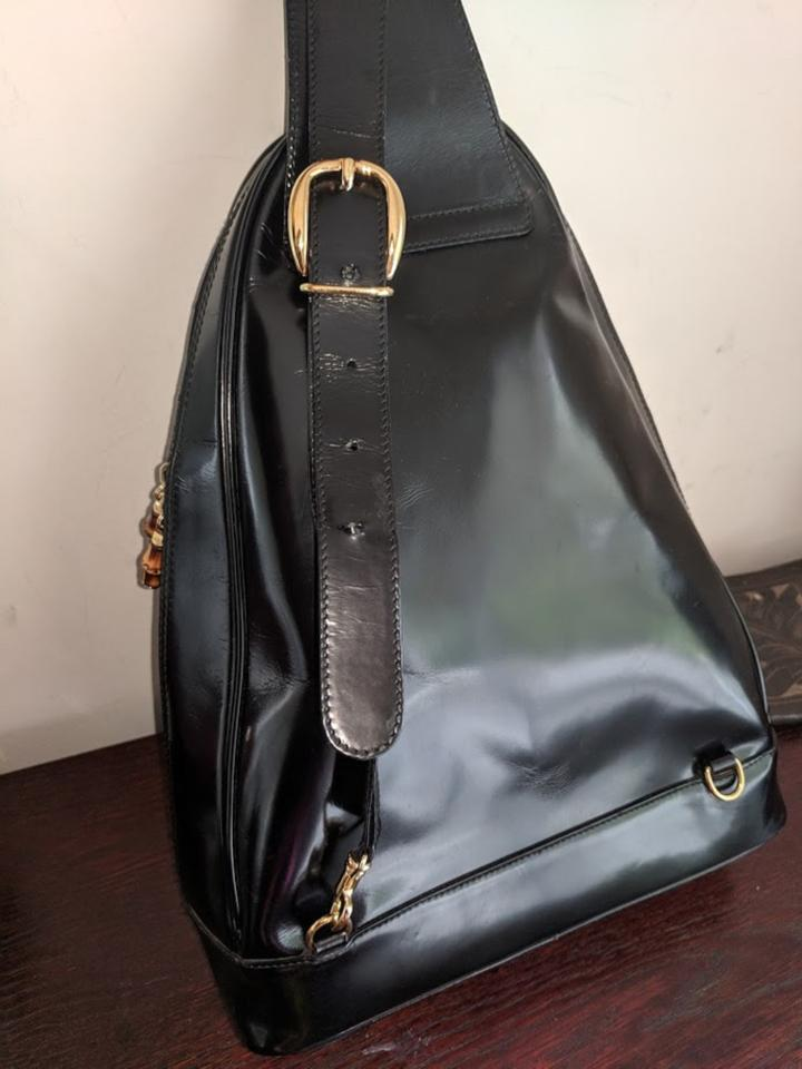 8c9a58f95b4 Gucci Bamboo Sling Black Patent Leather Backpack - Tradesy