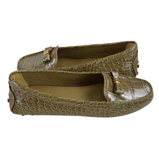 Tory Burch Ludlow Driver Patent Leather Croc Print Size 8.5 Tan Branch Sandals Image 4