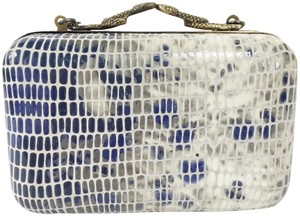 House of Harlow 1960 White, Blue, and Grey. Clutch