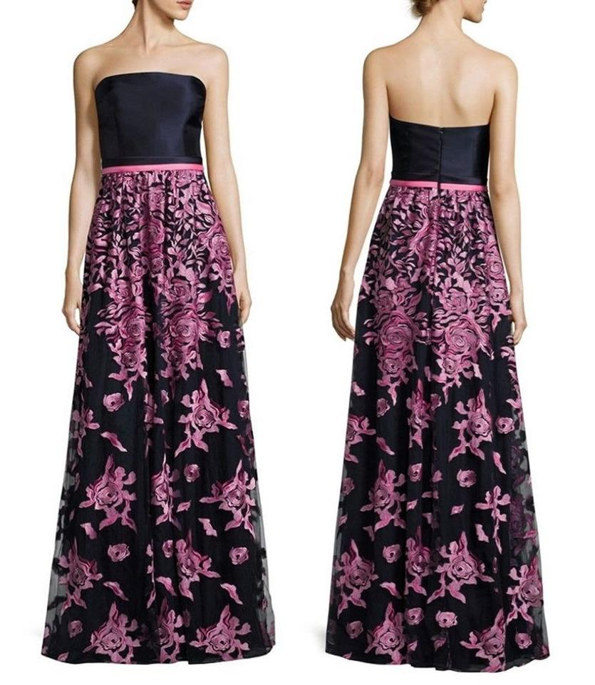 David Meister Navy Pink Floral-embroidered Strapless Gown Long ...