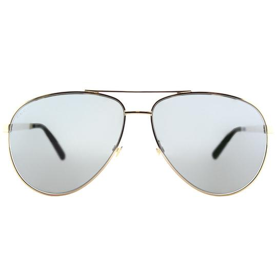 Gucci Gucci Sunglasses GG0137S 002 Gold Aviator with Grey Mirror Lens Image 1