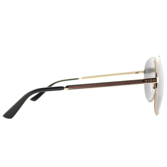 Gucci Gucci Sunglasses GG0137S 002 Gold Aviator with Grey Mirror Lens Image 2