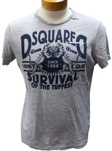 Dsquared2 Blood Twins Dean Dan Year Of The Dog Vintage T Shirt Grey and Navy Blue