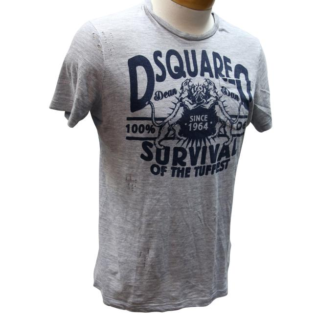 Dsquared2 Blood Twins Dean Dan Year Of The Dog Vintage T Shirt Grey and Navy Blue Image 1