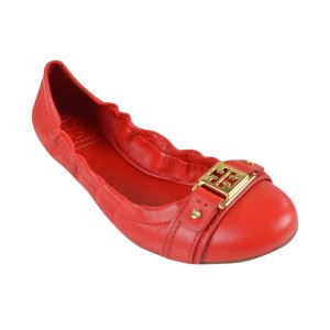 Tory Burch Ambrose Ballet Vegan Leather Red Size 8 Cherry Wine Flats