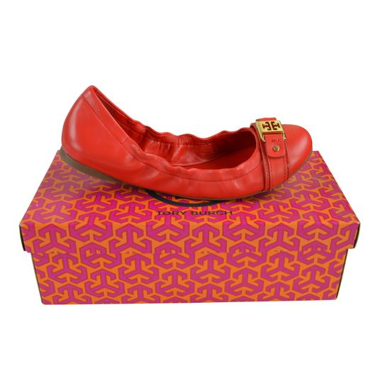 Tory Burch Ambrose Ballet Vegan Leather Red Size 8 Cherry Wine Flats Image 1