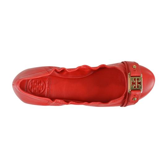 Tory Burch Ambrose Ballet Vegan Leather Red Size 8 Cherry Wine Flats Image 2