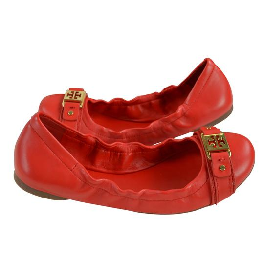 Tory Burch Ambrose Ballet Vegan Leather Red Size 8 Cherry Wine Flats Image 4
