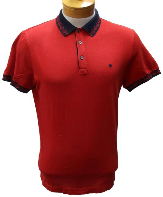 Item - Red and Navy Blue L Love Classic Peace Sign Logo Collar Polo Shirt Button-down Top Size 14 (L)