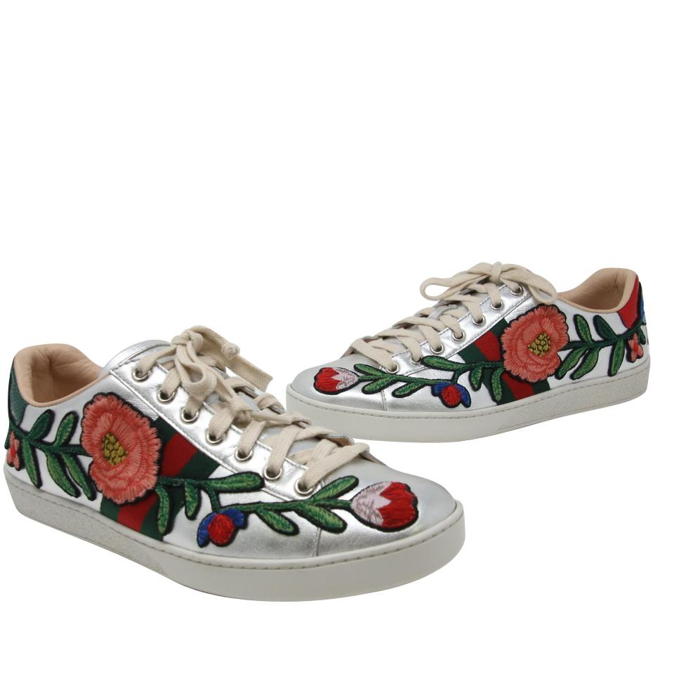 3b5521c71d8 Gucci Silver Ace Floral Calfskin Leather Embroidered Web Low Top ...