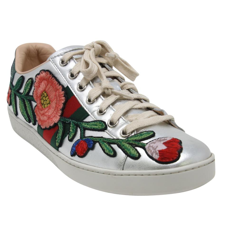 3f0df26fa Gucci Silver Ace Floral Calfskin Leather Embroidered Web Low Top ...