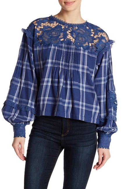 Free People Lace Checker Boho Diana Top Navy Image 2