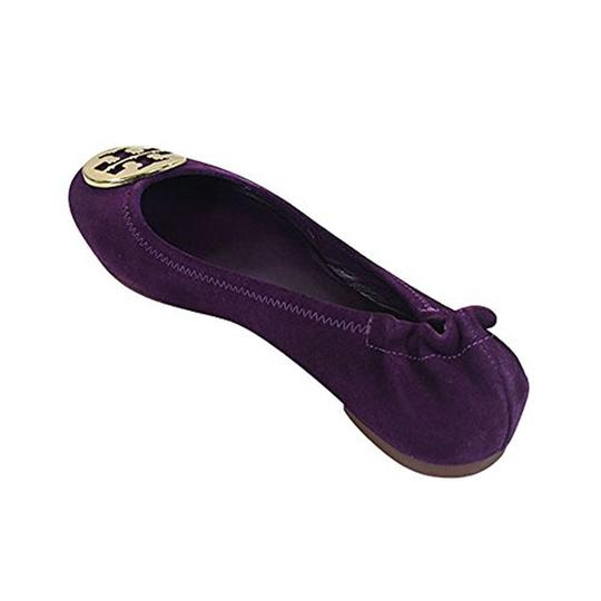 Tory Burch Reva Suede Purple Size 5.5 Sweet Plum/ Gold Flats Image 2