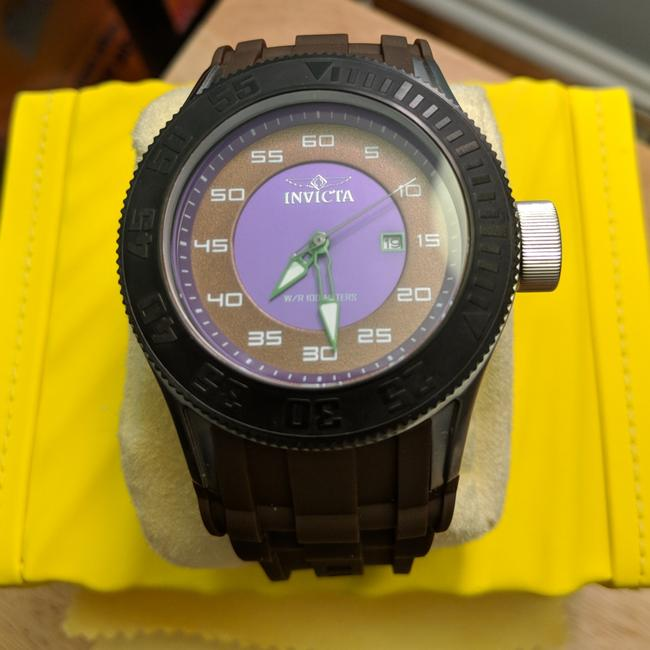 Item - Purple/Brown Dial with Brown Silicone Strap and Purple Accents XL 50mm Pro Diver Quartz Watch