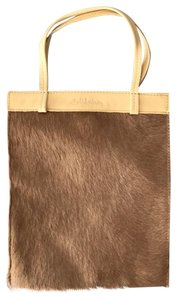 Bill Amberg Tote in Camel-colored calf hair with cream handles and top edge