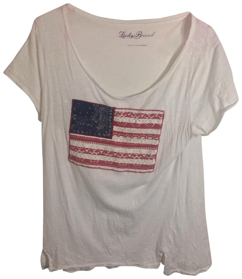 Lucky Brand White American Flag Tee Shirt Size 12 L Tradesy