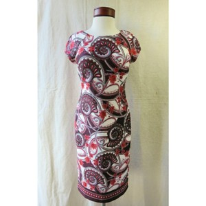 ECI New York Wine Plum Multi Paisley and Floral Cap Sleeve Sheath Feminine Bridesmaid/Mob Dress Size 6 (S)