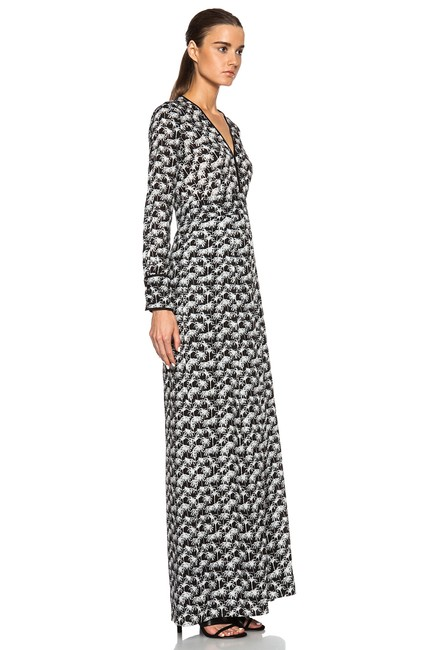 Yigal Azrouël Black & White V Palm Tree Long Formal Dress Size 2 (XS) Yigal Azrouël Black & White V Palm Tree Long Formal Dress Size 2 (XS) Image 1