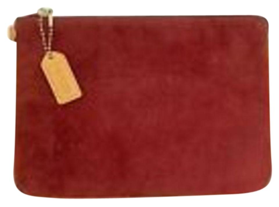 Coach Suede Bags Cosmetic Mini Wristlet In Dark Red