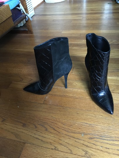 Brian Atwood Leather Suede Black Boots Image 1