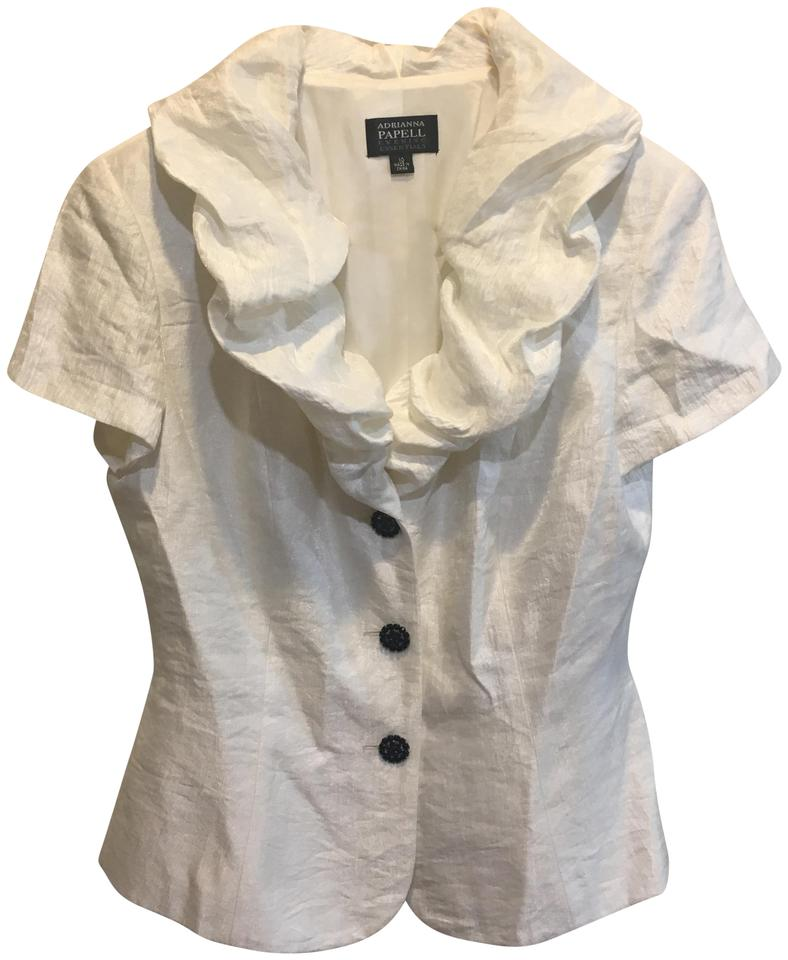 Adrianna Papell White Evening Essentials Blouse Size 10 M Tradesy
