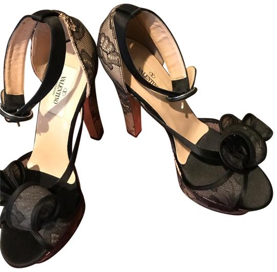 'VALENTINO VALENTINO BLACK LACE WITH PATENT LEATHER Platforms Image 0