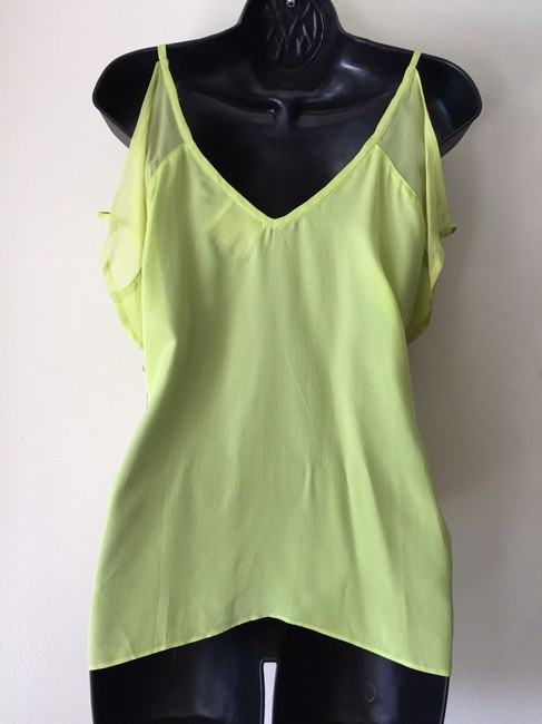 Line & Dot Sheer Cut-out Top neon green Image 1