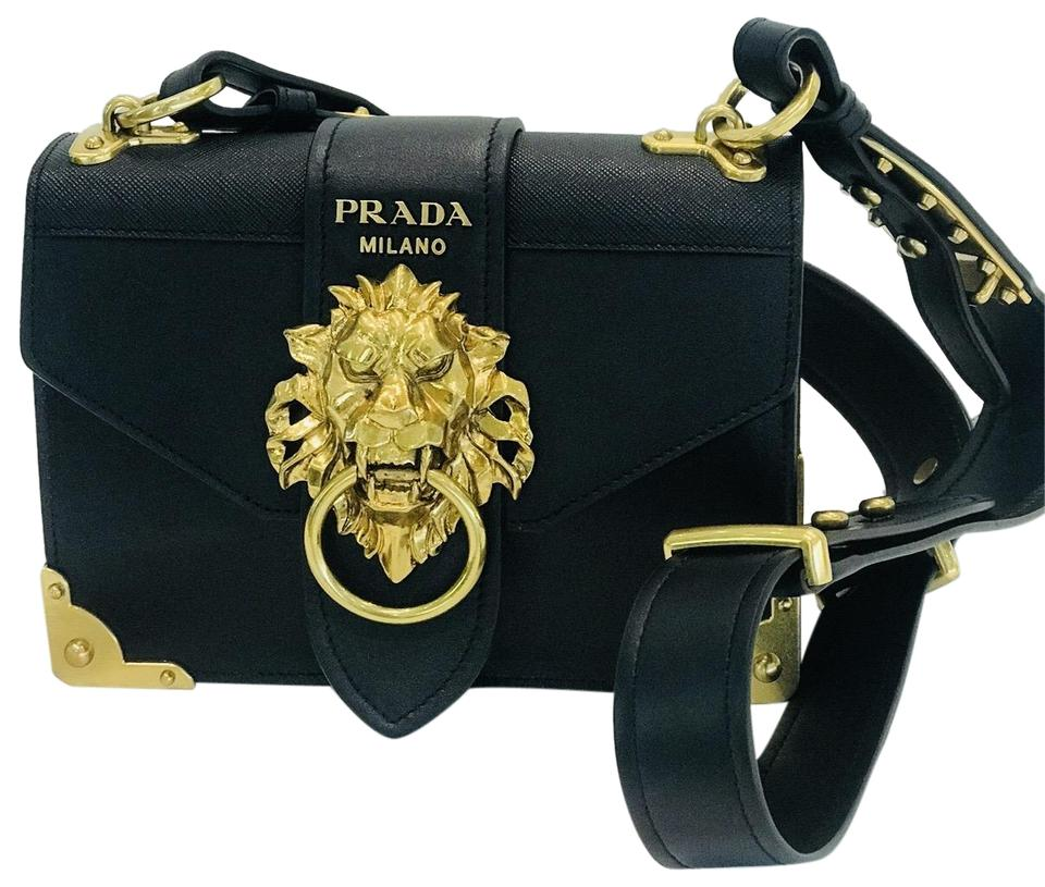 dd6c617ff8c7bc Prada Cahier Animalier City Calf and Saffiano Small Cross Body Black ...