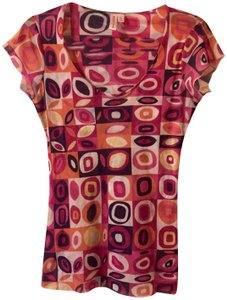 Sweet Pea by Stacy Frati Top Orange, Pink, yellow, black and white