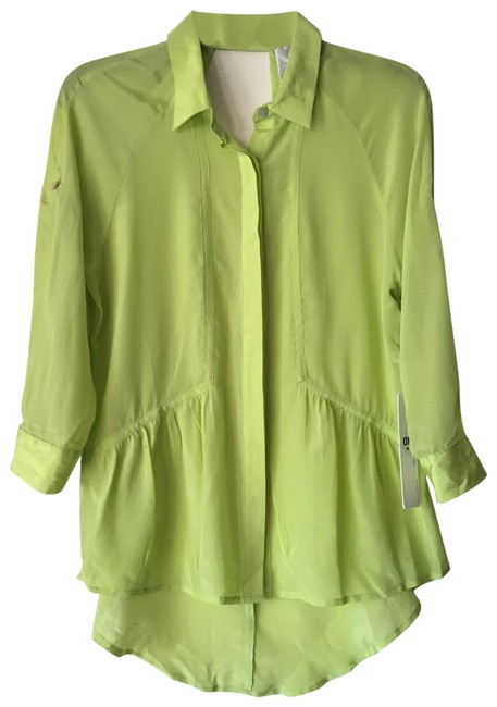 Preload https://img-static.tradesy.com/item/23706707/line-and-dot-neon-green-34-sleeve-sheer-keyhole-back-high-low-button-down-top-size-4-s-0-1-650-650.jpg