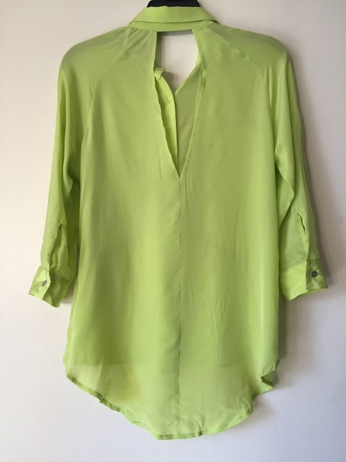 Line & Dot Studded Keyhole High Low Button Down Shirt neon green Image 1