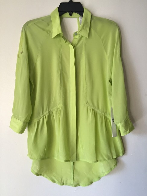 Line & Dot Studded Keyhole High Low Button Down Shirt neon green Image 2
